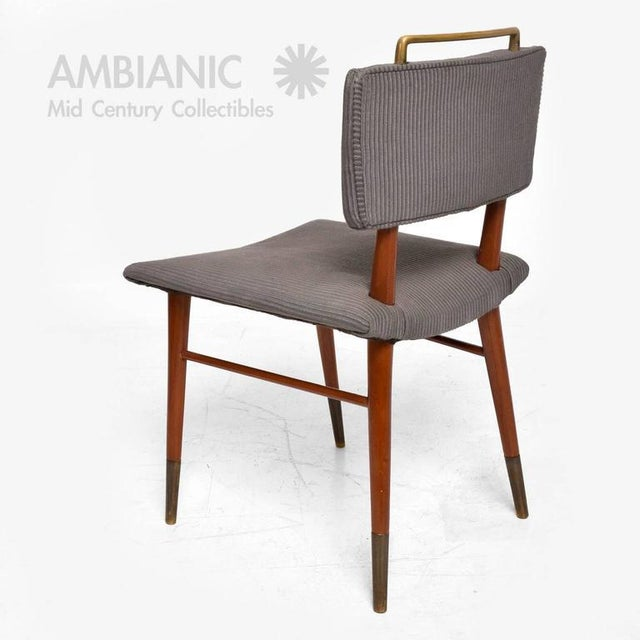 Set of 15 Mid-Century Modern Mahogany & Brass Dining Chairs For Sale In San Diego - Image 6 of 10