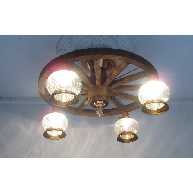 Wagon Wheel Country Western Chandelier - Image 5 of 7