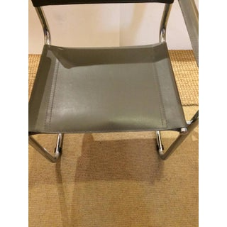 Mid-Century Modern Grey Leather and Chrome Dining Armchairs- Set of 4 Preview