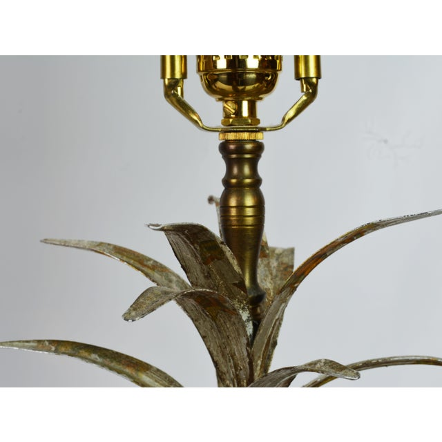 Late 20th Century Pair of Vintage Tropical Themed Distressed Gilt Table Lamps by John Richard For Sale - Image 5 of 12