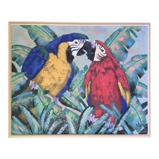 Large Lee Reynolds Parrots Painting For Sale