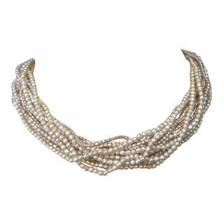 Miriam Haskell Elegant Multi Strand Glass Pearl Beaded Choker Necklace C 1950s For Sale