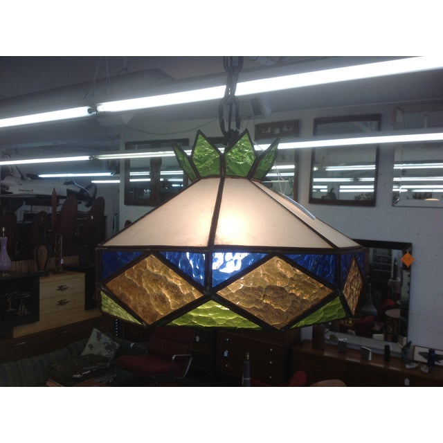 1970s Vintage Stained Glass Light Fixture - Image 2 of 5