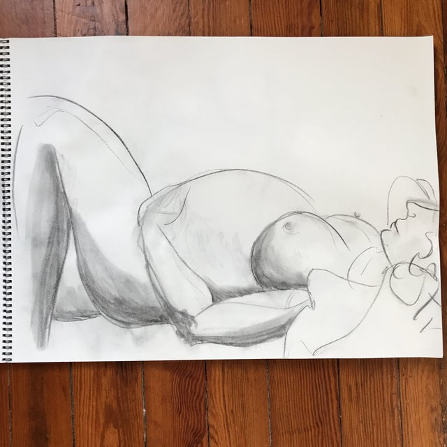 "Loose, figural drawing of pregnant nude by artist Alice Houston Miles, 2013. Charcoal on heavyweight paper. Measure 18"" x..."