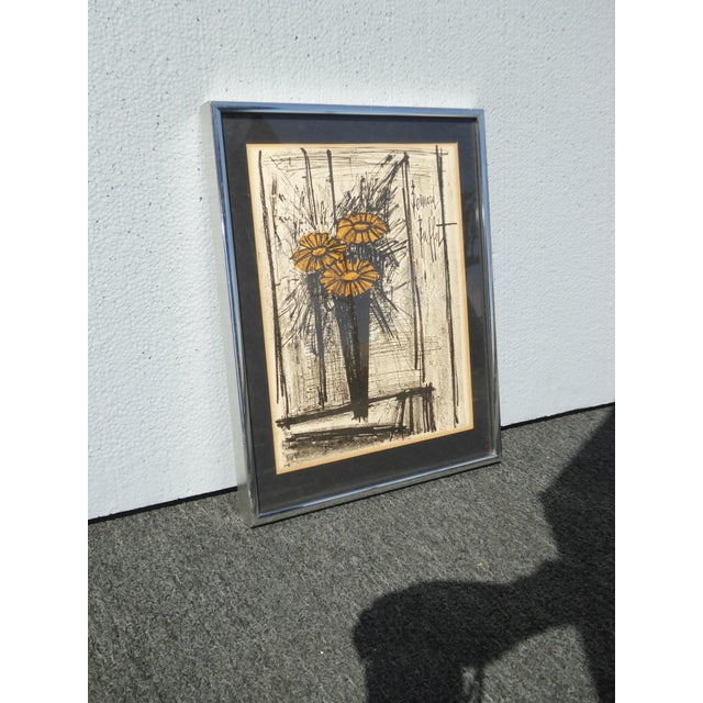 Metal Vintage Mid Century Modern Style Lithograph by Famed Artist Bernard Buffet For Sale - Image 7 of 12