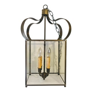 Vintage Onion Dome Lantern Style Chandelier in Antique Brass For Sale