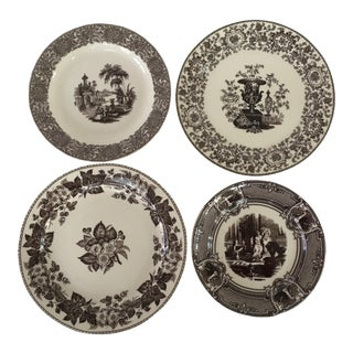 Brown Transferware Wall Plates - Set of 4 For Sale