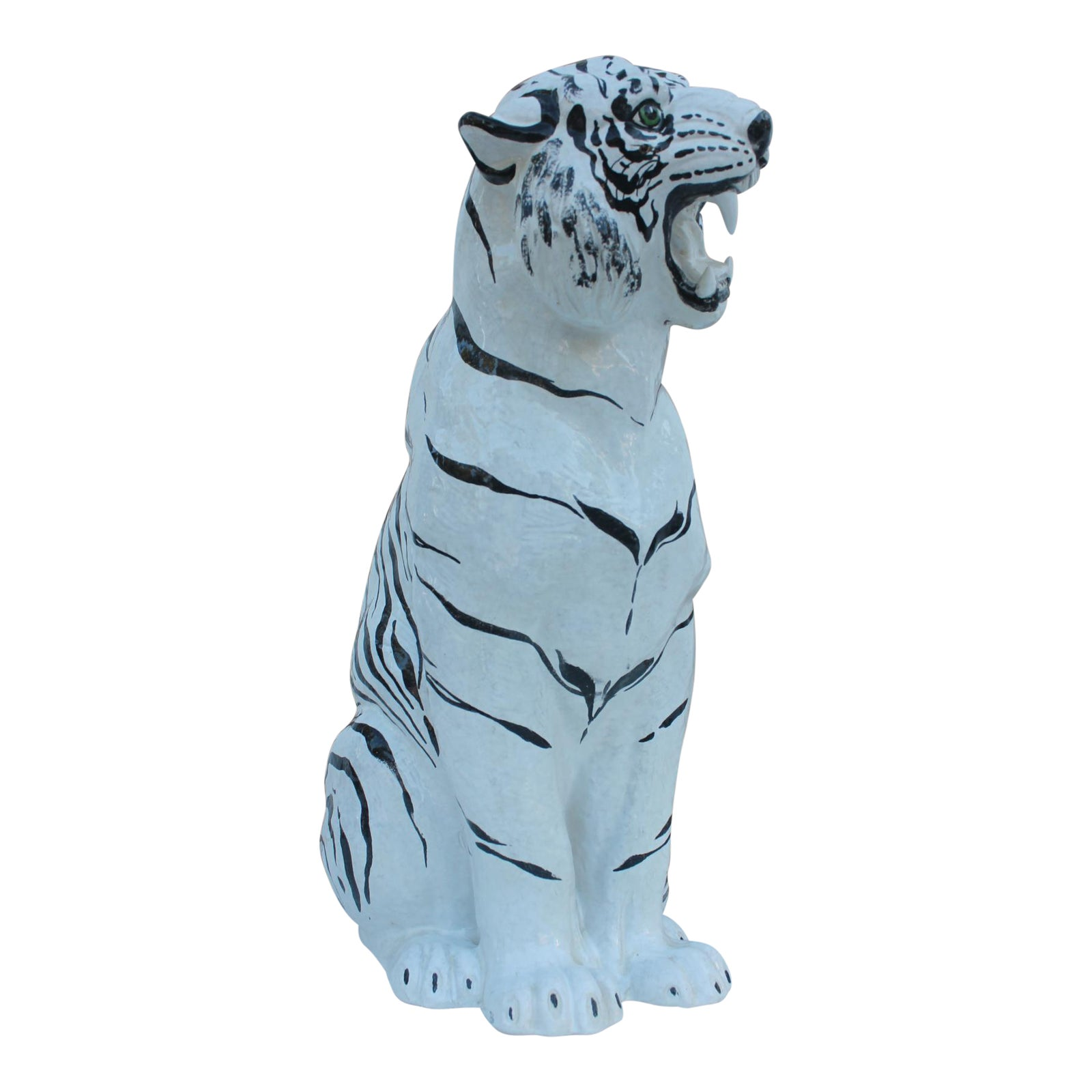 Italian Ceramic Tiger Statue | Chairish