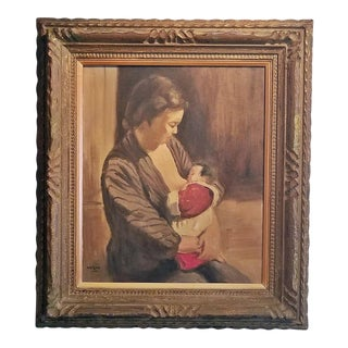 Hiyashi NoBuo Oil on Canvas - Nursing Mother For Sale