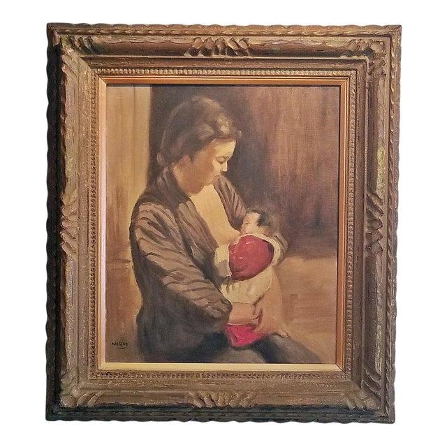 Hiyashi NoBuo Oil on Canvas - Nursing Mother For Sale