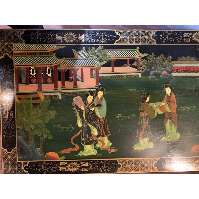Asian Mid 20th Century Asian (Chinoiserie) Black Lacquer Hand-Painted Buffet or Sideboard For Sale - Image 3 of 6