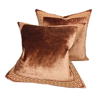 Traditional Plush Velvet Banded Pillows – a Pair For Sale
