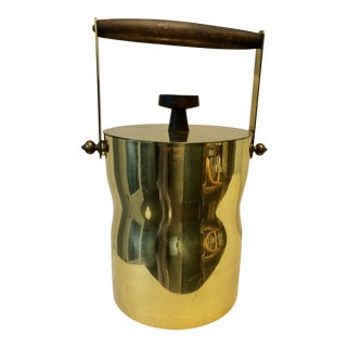 Midcentury Brass & Teak Ice Bucket For Sale