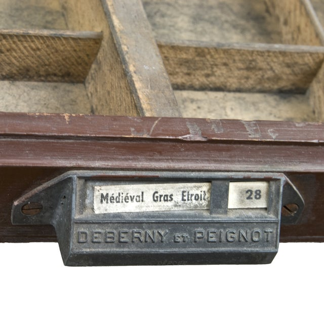 Vintage French Wood Printer's Type Tray - Image 3 of 5