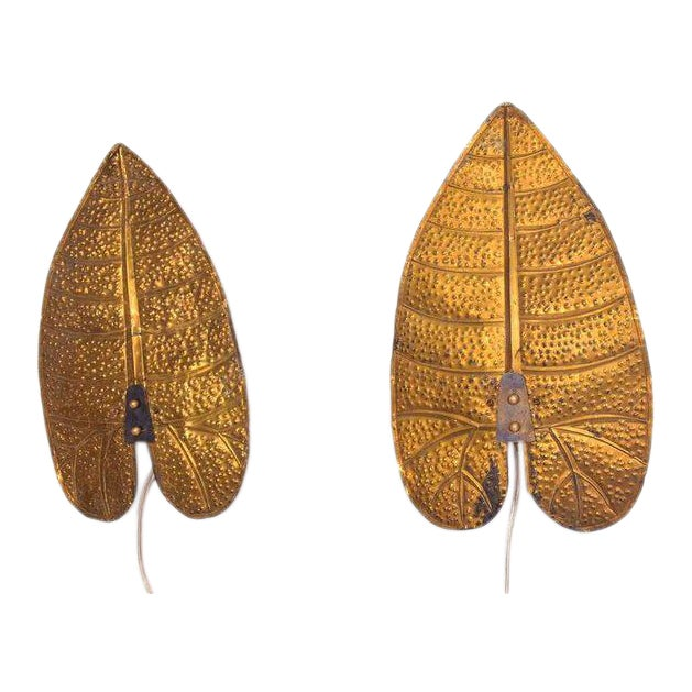 Pair of Art Deco Brass Leaf Sconces in the Style of Tommaso Barbi For Sale
