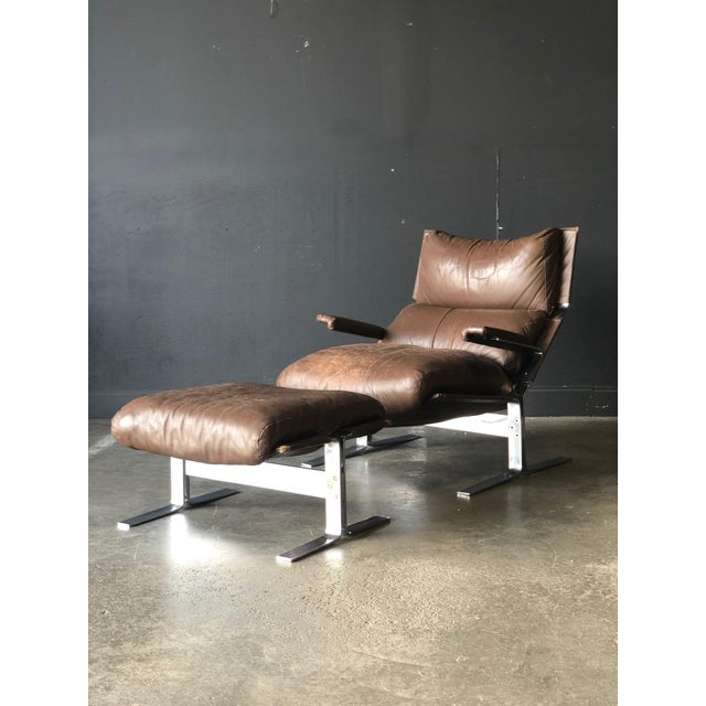 Westnofa Siesta Leather Chair & Ottoman For Sale - Image 10 of 10
