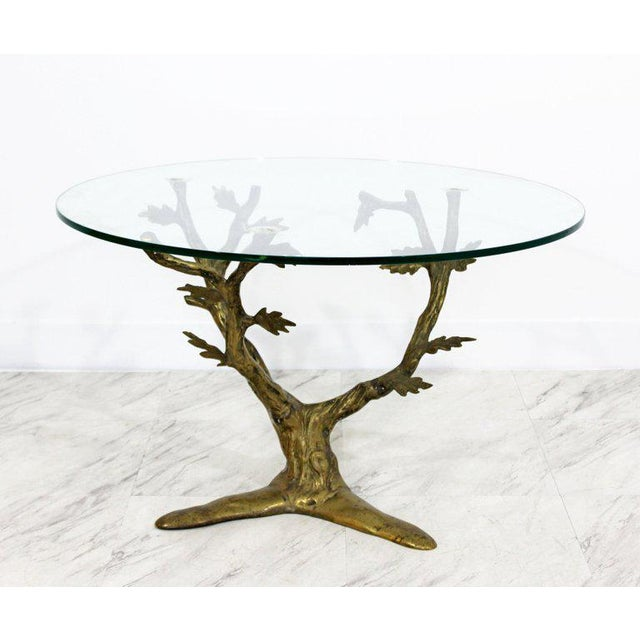 Art Deco Modern Art Deco Cast Bronze Tree Limb Side End Table For Sale - Image 3 of 6