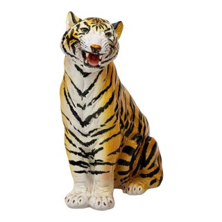1950s Italian Ceramic Tiger King Statue For Sale