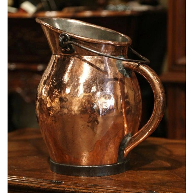 Mid 19th Century 19th Century French Polished Copper and Iron Decorative Coal Bucket For Sale - Image 5 of 10