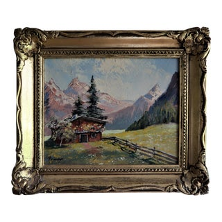Vintage 1960's Swiss Alps Original Signed Oil on Masonite Painting in Giltwood Frame