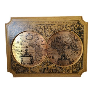 1960s Masketeer Brass Map of Orbis Terrarum Descriptio Duobis Planis Hemisphere For Sale