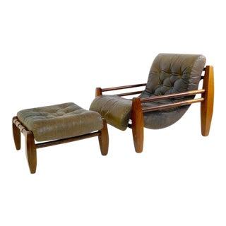 Brazilian Armchair With Ottoman For Sale