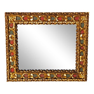 Vintage Mid Century Italian Baroque Style Painted and Parcel-Gilt Wall Mirror For Sale
