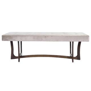 1950s Adrian Pearsall Gray Velvet Upholstered Sculptural Walnut Bench For Sale