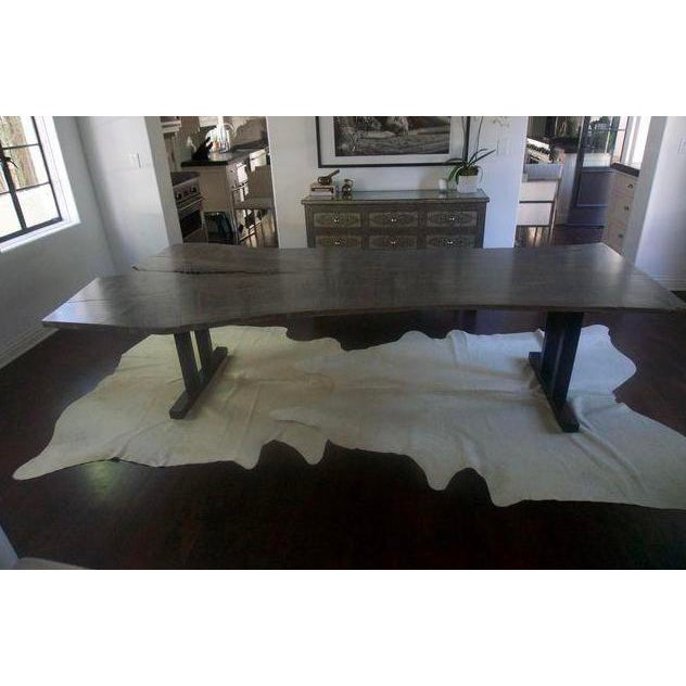 2010s Live Edge Grey Wood Dining Room Table For Sale - Image 5 of 8