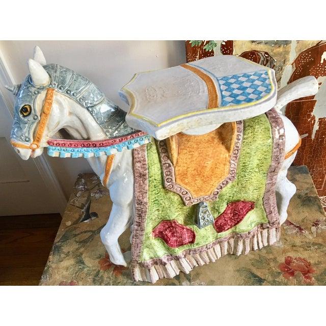 Unicorn Horse Majolica Garden Seat - Image 4 of 5