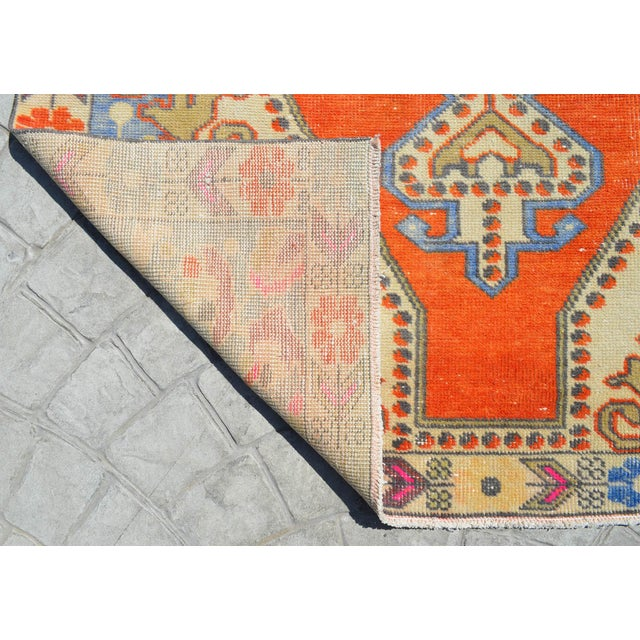 Distressed Area Rug Hand Knotted Colorful Oushak Medallion Rug - 4'4'' X 7'3'' For Sale - Image 9 of 12