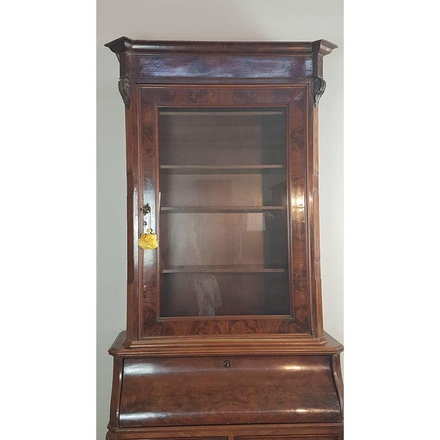 19th Century English Mahogany Wood Bookcase With Secretaire For Sale - Image 4 of 12