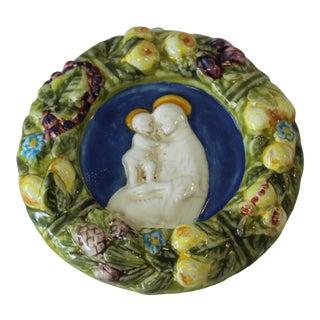 Vintage Italian Artist Signed Della Robbia Terracotta Religious Wall Decor For Sale
