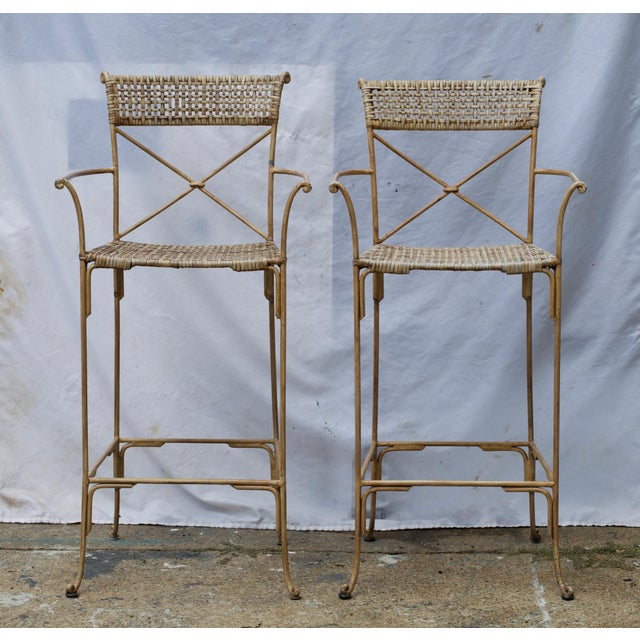 Neoclassical Styled Metal Bar Stools, Pair For Sale - Image 13 of 13