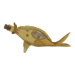 Italian Mid Century Blown Glass Fish Wine Bottle For Sale