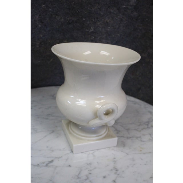 Classic Lenox white neoclassic porcelain urn. Perfect for any sophisticated home.