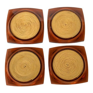70s Mod Lucite Amber Coasters - Set of 4 For Sale