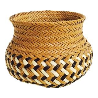 Vintage Woven Basket Vase For Sale