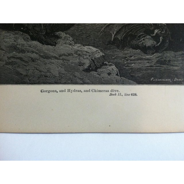 "Traditional Antique Paradise Lost Print, ""Gorgons - and Hydras - Chimeras Dive"", Circa 1940 For Sale - Image 3 of 4"