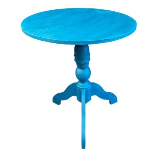 Transitional Distress Teal Green Chalk Paint Round Pedestal Table For Sale