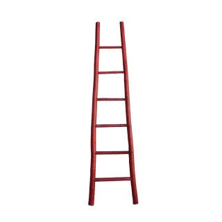 Red Oriental Bamboo Ladder Shape Display Accent Wall Panel For Sale