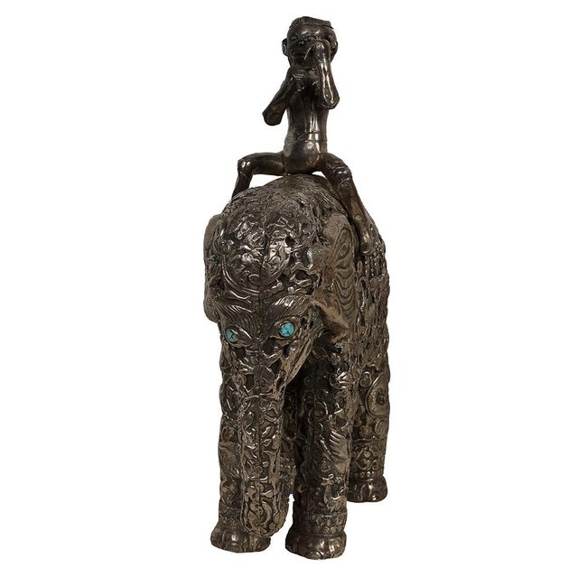 Late 19th Century Antique Man on Elephant Hand Carved Tibetan Sculpture For Sale - Image 4 of 13