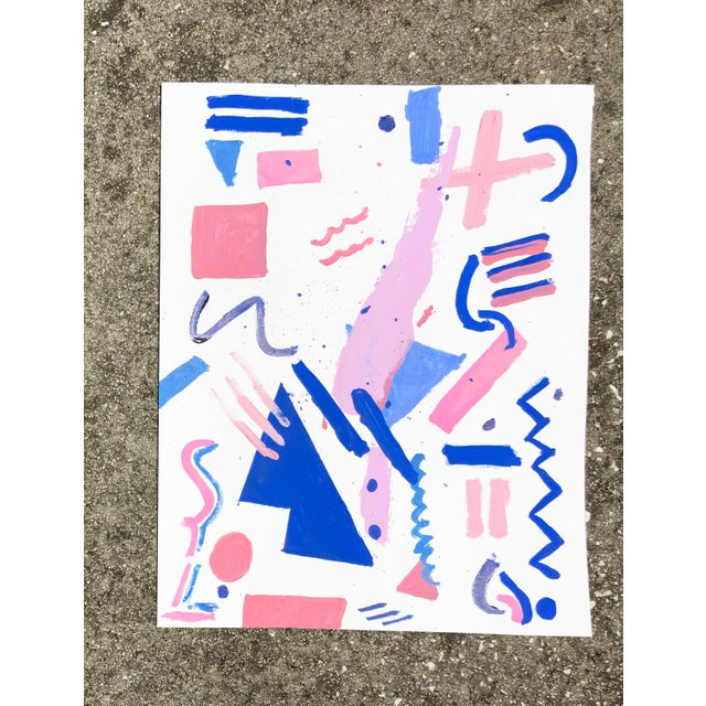 Virginia Chamlee Memphis Style Pink and Blue Abstract, 2018 For Sale - Image 4 of 4