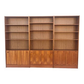 Vintage Modern Teak Bookcase or Wall Unit- Three Pieces For Sale