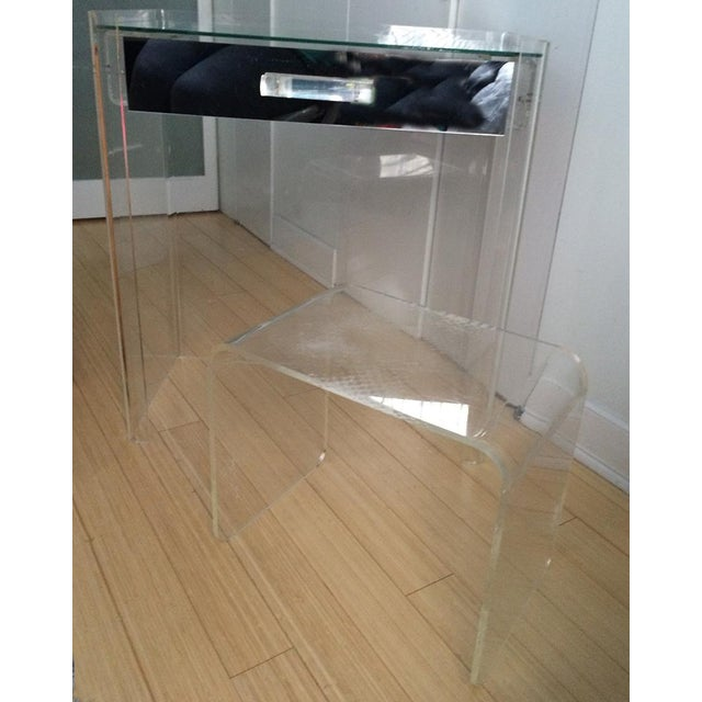 Lucite Mirrored-Drawer Vanity & Stool - A Pair - Image 10 of 13
