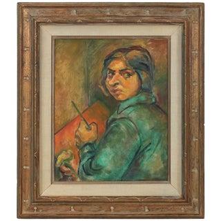 Martin Snipper Portrait of Artist Ethel Weiner Guttman, Oil on Canvas, Mid 20th Century Mid Century For Sale