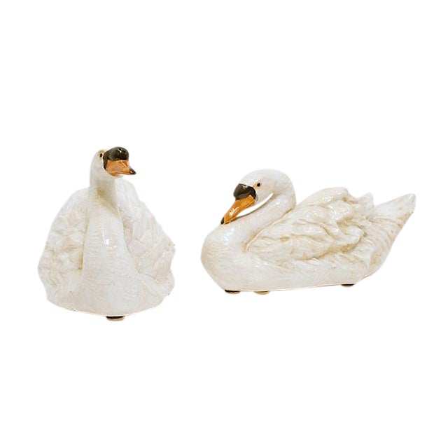 Glazed Ceramic Swans - A Pair - Image 1 of 6