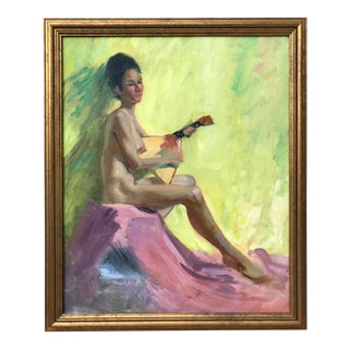 American Impressionist Oil Painting Nude Female With Balalaika by Harry Barton For Sale