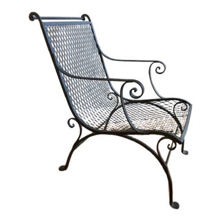 Early 20th Century Vintage French Wrought Iron Garden Chair For Sale