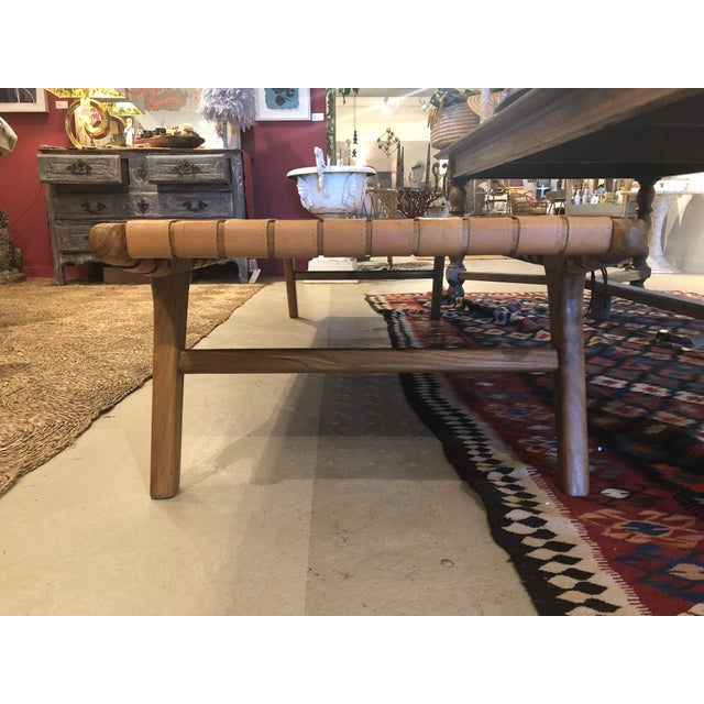 Mid-Century Modern Woven Leather Bench For Sale - Image 3 of 6